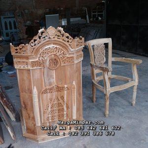 Mimbar Masjid Sederhana Kaligrafi Jepara