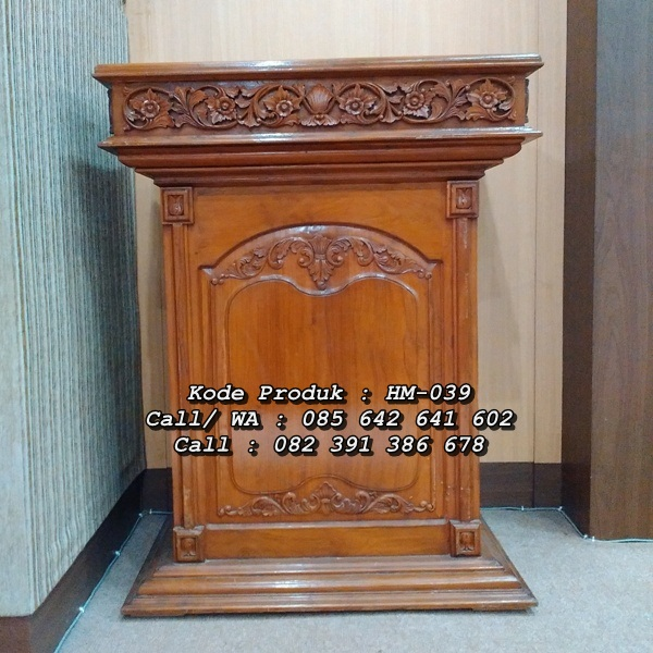 Model Podium Pidato Ukiran Minimalis Jati