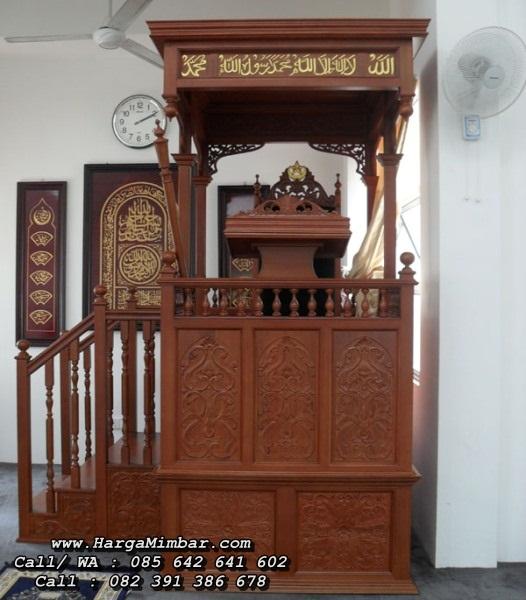 Mimbar Masjid Minimalis Tingkat Ukiran