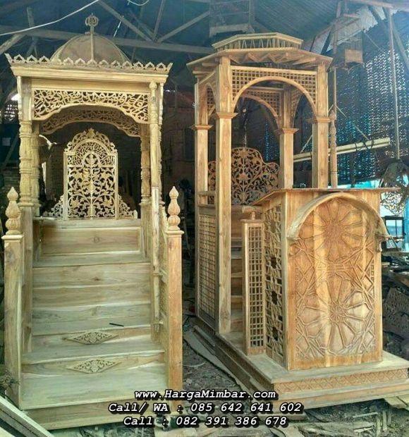 Model Mimbar Masjid Terbaru Ukir Jati