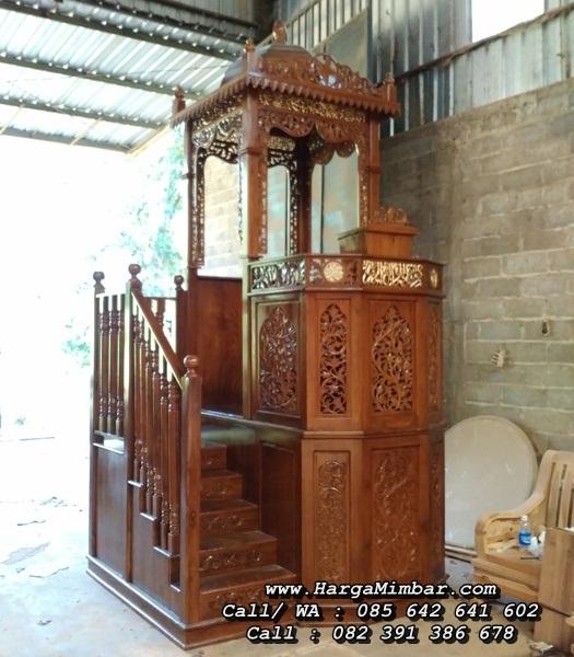 Mimbar Khutbah Masjid Ukiran Kayu Jati Mewah