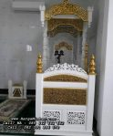 Mimbar Masjid Ukiran Kaligrafi Jepara Putih