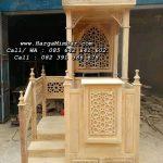 Mimbar Masjid Minimalis Ukir Tangga Kayu Jati